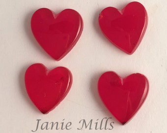 Red Slag Glass Roserita heart cabochon 13 to 14mm