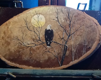 The Eagle at rest, nature, wood, Acrylic paint, animals, foretenart, bald eagle