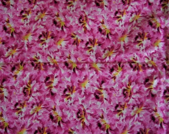 """Over 2 Yds PINK & WHITE with YELLOW  Med Print Calico Cotton Quilting Fabric  73"""" X 43"""""""