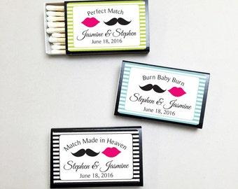 50 pcs Personalized Mustache and Lips Matchboxes (MICPBMLMBB29)