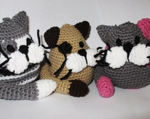 Custom-made Crochet Round Cats: crocheted stuffed animal amigurumi