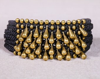 Black bead bracelet- Beaded Bracelet-Bracelet with Gold droplets- Brass Drop Beads Black Band Bracelet- B 61
