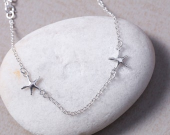 Silver Chain Starfish Anklet, Sterling Silver anklet, Starfish Charm Anklet, Foot Chain, (AS10)