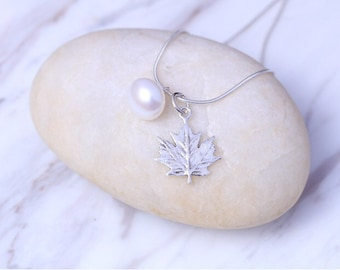 Autumn leaf and pearl pendant, Sterling Silver nevklace, Gemini Birthstone Pendant, Pearl charm necklace, 925 silver, (P -108)