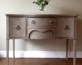 Antique Edwardian Mahogany Serpentine Sideboard Console Table Hall Painted Grey Annie Sloan French Linen