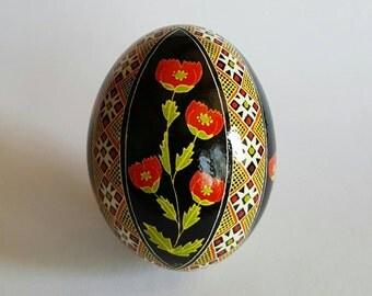 Detailed Red Poppy Pysanky Ukrainian Easter Egg