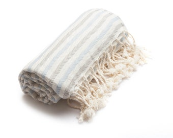 Turkish Towel, Peshtemal Towel,  Sauna,Peshtemal, Beach Towel, Bath Towel, Spa/Yoga/Pool/Park, Tablecloth, Striped, Grey, Blue  Cotton Towel