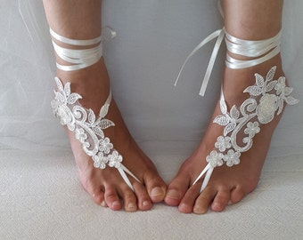 Wedding shoes,beach shoes,summer shoes,bridal accessories,ivory, lace, wedding sandals shoes,free shipping! bridal sandals, bridesmaids,