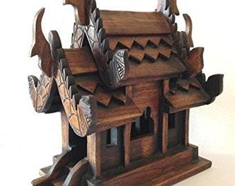 Hand Carved Wood Teak Spirit House Antique Decorative Garden