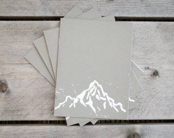 A5 notebook grey mountains linocut