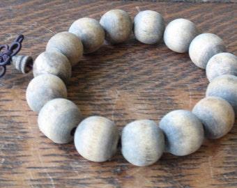 Antique Wood Tibetan Prayer Bracelet