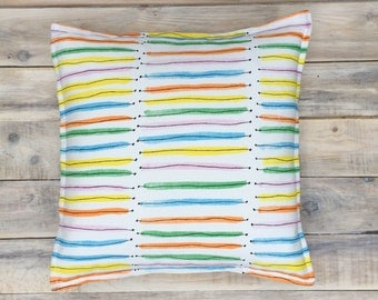 Rainbow Stripes Pillow with Cotton Cover 40x40 cm