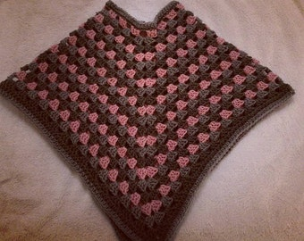 Child's Poncho Pink and Grey (aged 3)