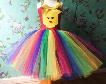 Girls lego inspired tutu dress