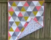 Pink, Chartreuse, Grey and White Triangle Baby Quilt with Feathers