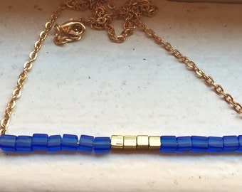 Petite Blue & Gold Necklace