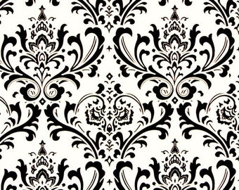 Damask Fabric, Premier Prints Traditions Black White Fabric by the Yard, Home Decorator Fabric, Upholstery Fabric, Cotton Fabric Yardage