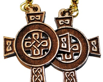 Celtic Cross Dangle Earrings,  These earrings are made with solid maple hardwood that has been laser engraved with great detail.