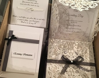 Beautiful Lace effect Day Wedding Invitation
