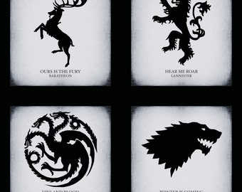 Game of Thrones Houses Black & White