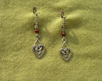 """Earrings """"Celtic heart"""". Celtic ornament. Celtic knot. Handmade medieval earrings with natural garnet."""