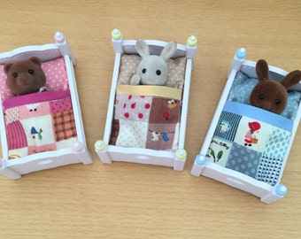 Set of 3 Handmade Baby Sleeping Bags to fit Sylvanian Families Triple Bunk Beds
