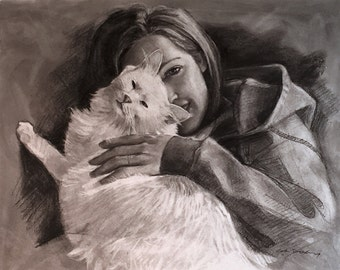 Charcoal portrait, Animal lover