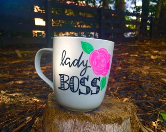 Lady Boss Mug / Hand Drawn Mug / Coffee Mug
