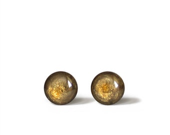 Stud Earrings Mini Tiny Gold Shimmery 6 mm - Stainless Steel Gold Plated Posts plus High Quality Epoxy Resin Moon Line