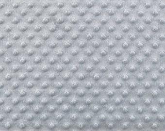 Grey Minky Fabric, Dimpled Minky Fabric by the Yard, Plush Minky Fabric, Light Grey