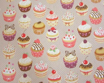cotton fabric cupcakes muffins dots beige  colourful sweet