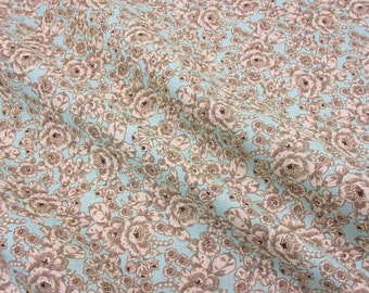 cotton fabric ancient roses mint ecru taupe patchwork