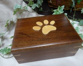 Pet Cremation Urn,Pet Cremation Box - Maple Wood Paw print on Handmade Solid Walnut Box