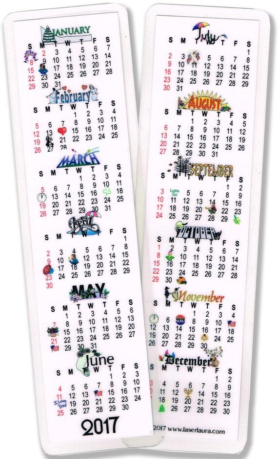 Calendar Bookmark : Calendar bookmark laminated to last all year