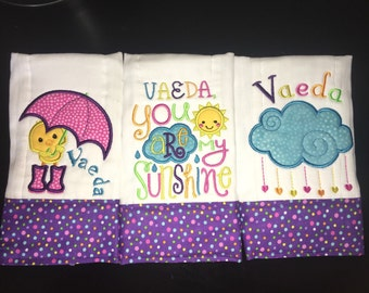 Rainy Day Burp cloth set