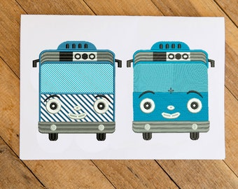 Tayo bus car  for kids birthday Applique and full stitch Design Embroidery Design  Download Machine