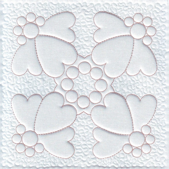 Quilt embroidery heart machine design trapunto