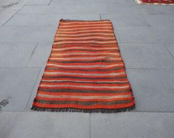 Kilim rug,Free shipping !!!Turkish small vintage rug,hand woven rug with striped design,kelim vintage rug,ethnic rug,39 x 20 inches,boho rug