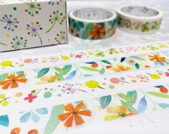 flower garden pattern Washi tape 2 rolls Summer flower pretty wild flower Vibrant flower Masking tape set Watercolor flower sticker decor