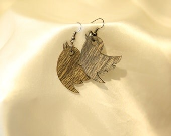 Wooden jewelry set - birds . Gift for women. Free shipping.