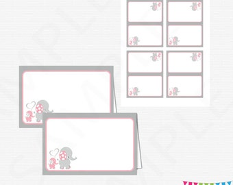 Food Labels, Pink Elephant Baby Shower, Pink and Gray Baby Shower, Tent Cards, Place Cards, Printable Decorations, Download, EL0005-LP