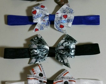 """Star Wars Inspired 3"""" Bow on Elastic - Baby bow, Droids, BB8, Wookie, Storm Trooper"""