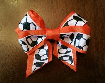 """5""""  Soccer Hair bow - Custom Colors for sports teams!"""