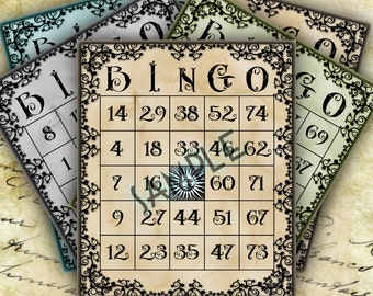 Printable Numbered Bingo Cards Game & Collage, Vintage Art Digital Download Junk Journal Scrapbooking Steampunk Art Baby Shower Party 0001