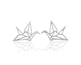Studs origami cranes silver - free shipping -.
