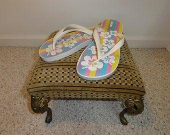 Vintage Flip Flop Sandals Ipanema by Grendene (Made in Brazil, Striped, Size 9)