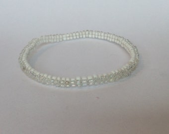 Iridescent/White Beaded Thin Bracelet/Bangle