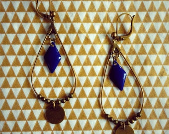"Earrings ""Tears of Navy"" Diamond collection"