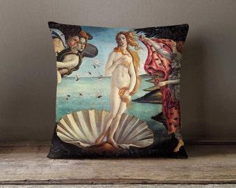 Birth Of Venus Botticelli Pillowcase   Decorative Throw Pillow Cover   Cushion Case   Designer Pillow Case   Birthday Gift Idea