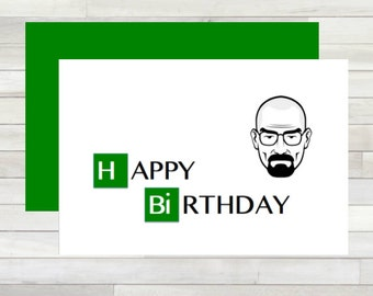 Greeting Card Happy Birthday Breaking Bad Walter White Printable Instant Download Last Minute DIY